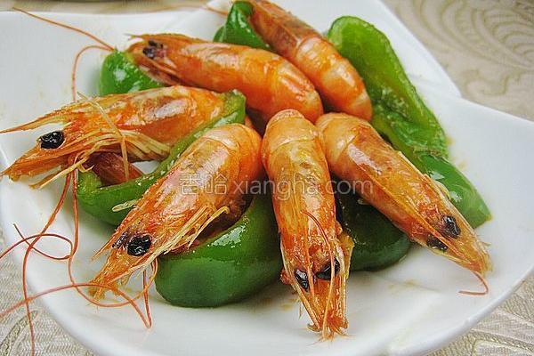 青椒炒对虾的做法