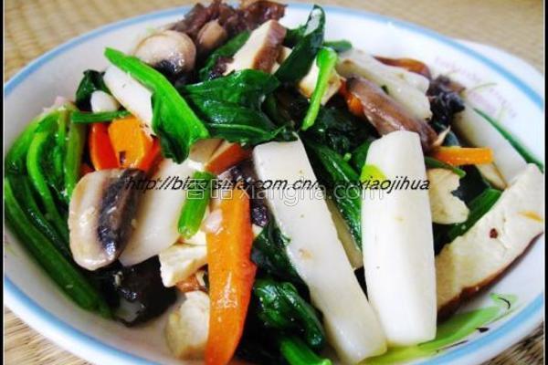 杂蔬素炒年糕的做法