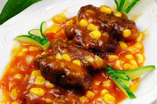玉米茄汁浇肉饼的做法