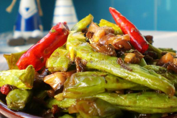 香菇芽菜煸芸豆的做法