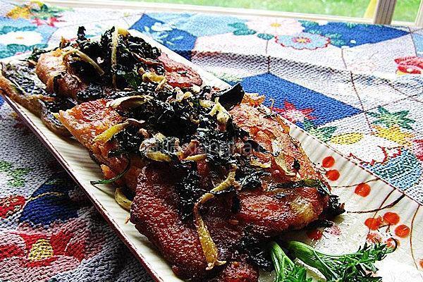 紫苏香煎三文鱼骨的做法