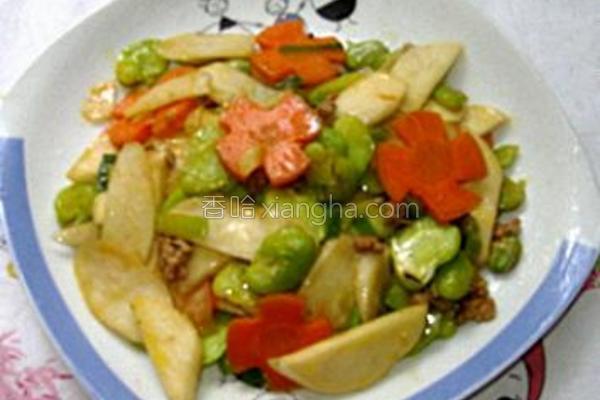 茭白炒蚕豆的做法