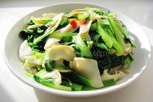 小白菜炒杏鲍菇的做法