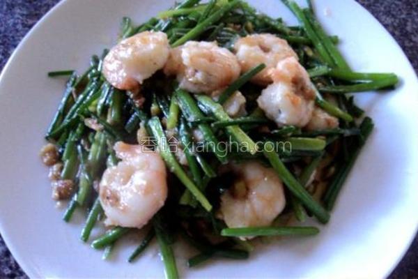 鲜虾炒韭菜花的做法