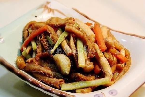菌菇炒牛肚的做法