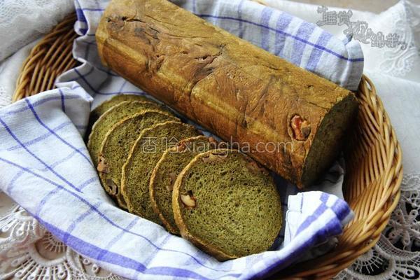抹茶核桃圆面包的做法