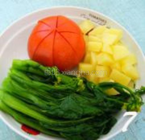将菜心,番茄,土豆放入盆中摆好,淋上调好的酱料,再洒上芝士粉即可。