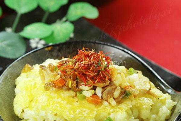 藏红花虾干饭的做法