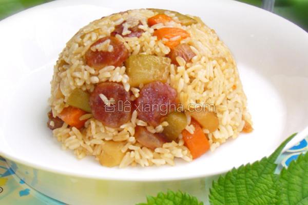 腊味杂蔬焖饭的做法