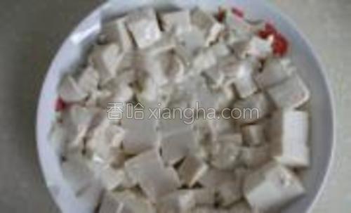 豆腐切成丁铺满盘子,豆腐容易出水,过一段时间就要把出的水倒掉。