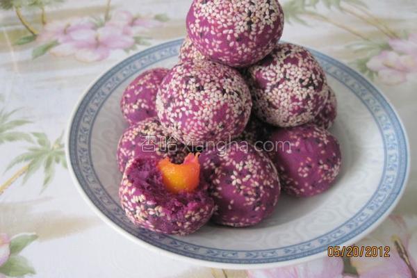 芒果紫薯球的做法