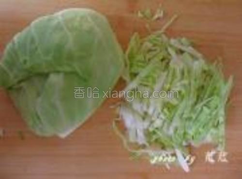 把包菜洗净切丝。
