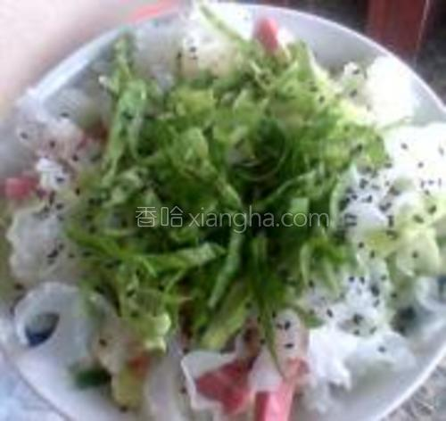 生菜切成细丝加上,再撒点黑芝麻,好看好吃又很方便的就是一道菜啦。
