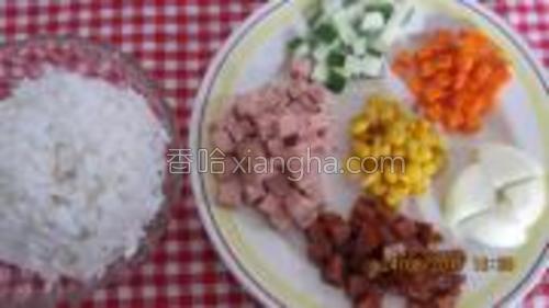 把青瓜,紅罗卜,腊肉,午餐肉和大葱切丁。