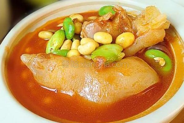 茄汁黄豆炖猪蹄的做法
