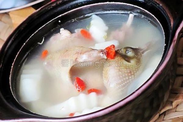 淮山枸杞乳鸽煲的做法