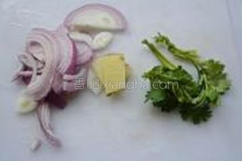 洋葱切成丝,生姜切片。