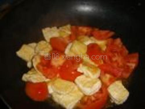 在煎好在豆腐里,放入西红柿,加盐,鸡精把西红柿炒到8成熟。
