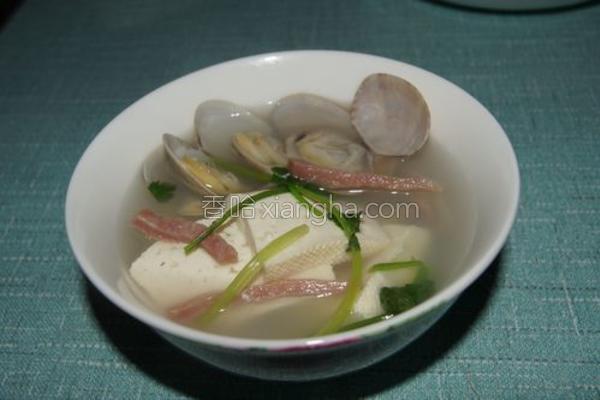 豆腐花蛤汤的做法