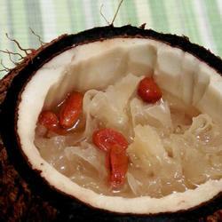 枸杞子雪耳炖椰子的做法[图]