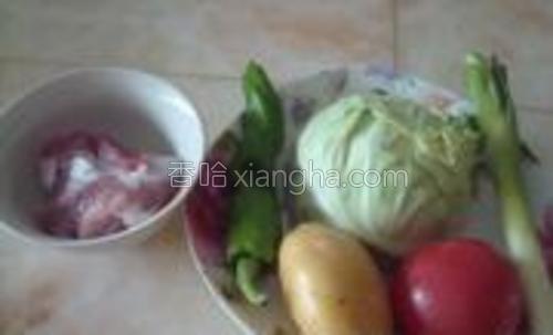 材料:面粉羊肉盐大葱包包菜土豆青辣椒西红柿黑胡椒粉