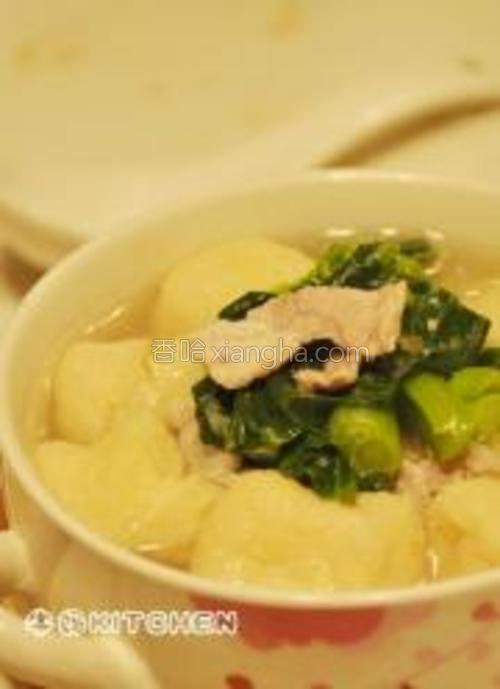 小蔬肉片汤完成。
