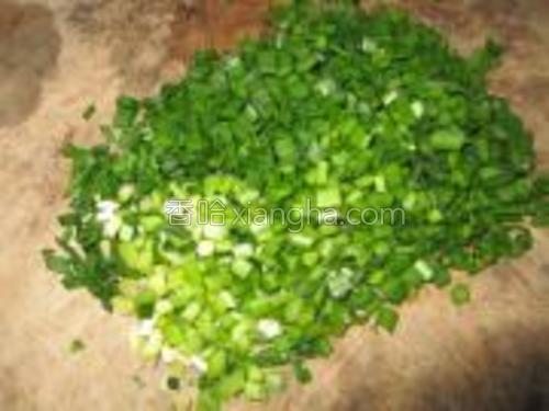 韭菜切成细末。