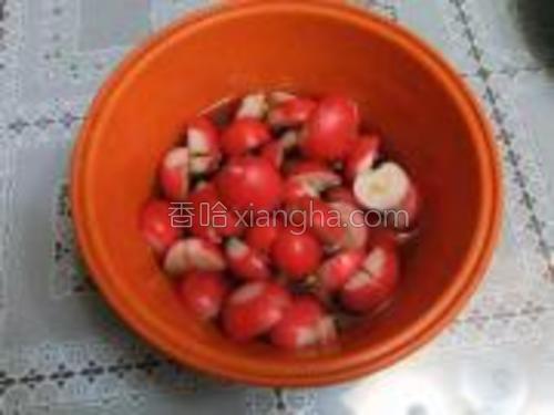 将醋汁倒入小红萝卜后腌制一小时就可食用了。