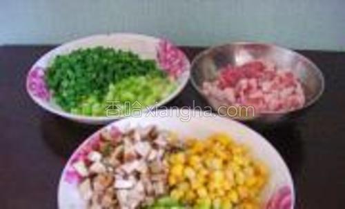 准备好各种蔬菜丁和五花肉丁