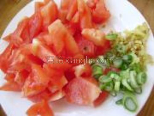 将西红柿清洗干净,切成小块,葱姜切成末,装入盘中待用。