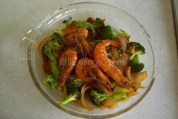 洋葱西兰花炒大虾的做法