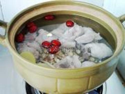 所有材料放入瓦锅中,注入2500毫升左右的清水,盖上盖子,用大火烧开。