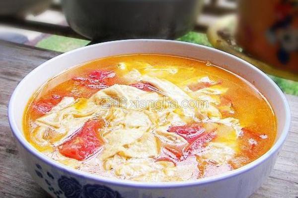 番茄豆皮汤的做法