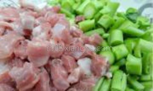 芥兰菜梗切粒/瘦肉切丁