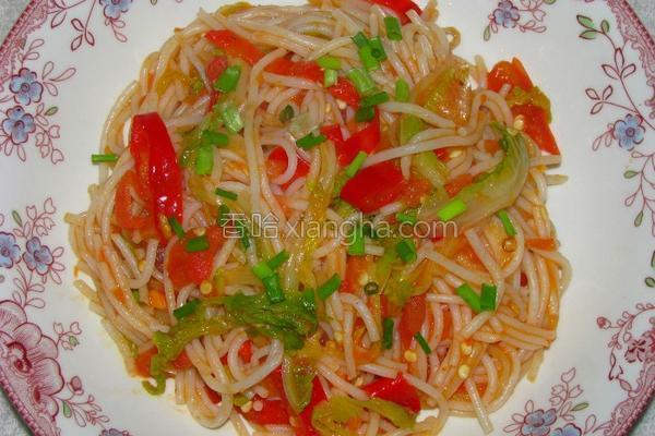 泡椒白菜炒米线的做法