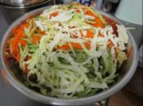 白菜,黄瓜,胡萝卜切丝,加盐去水,因为蔬菜会出很多水,要是不介意的话可以省略去水这个步骤.