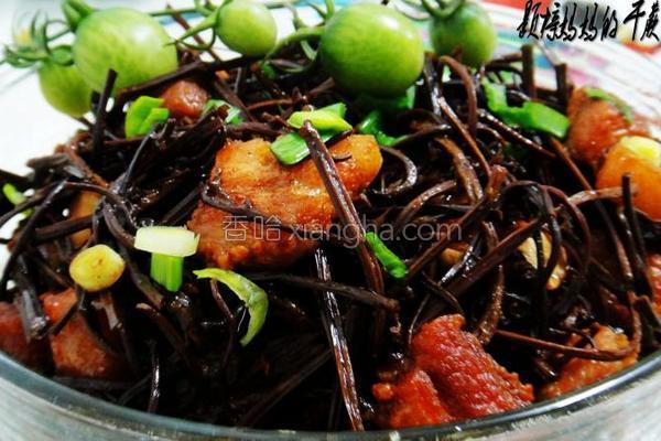 干蕨菜焖肉的做法
