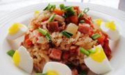 米饭盛出,鸡蛋围一周装饰,再撒上葱花即可。