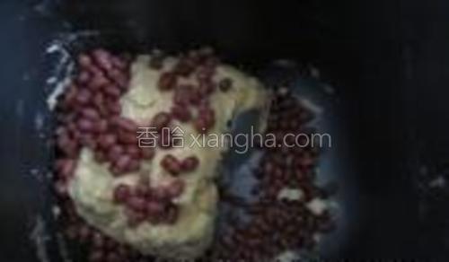 加入解冻好的蜜红豆。