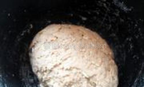 将溶有酵母的温水倒入面粉中,再酌情加入温水,揉成面团。