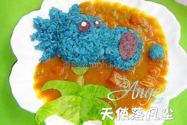 雪花豌豆咖喱饭的做法