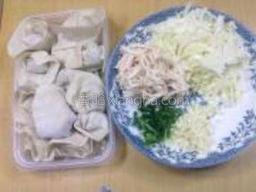 馄饨皮包好馄饨,包菜切丝,鸡胸肉用手撕小丝,大蒜,葱切末。