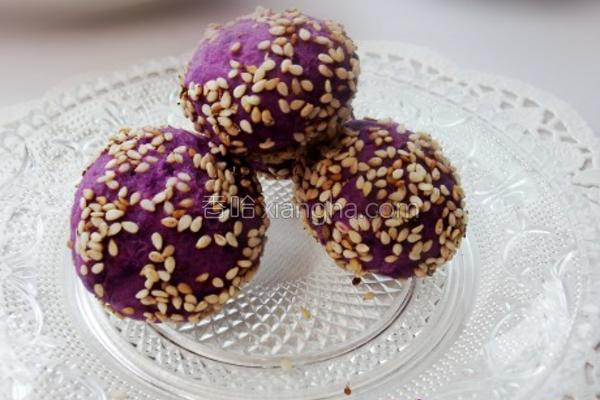 紫薯果仁球的做法