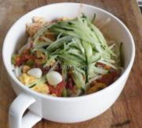 面条煮熟后捞到碗中,放入西红柿卤,黄瓜丝,搅匀即可食用。
