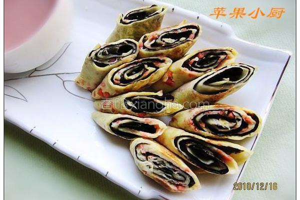 海苔葱蛋卷饼的做法