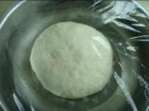 将发酵粉加少量温水再加少许糖中搅拌均匀倒入面粉中,和成光滑的面团;盖上保鲜膜将面团发酵一个半小时左右,当面团发酵至原来体积两倍大时即可。