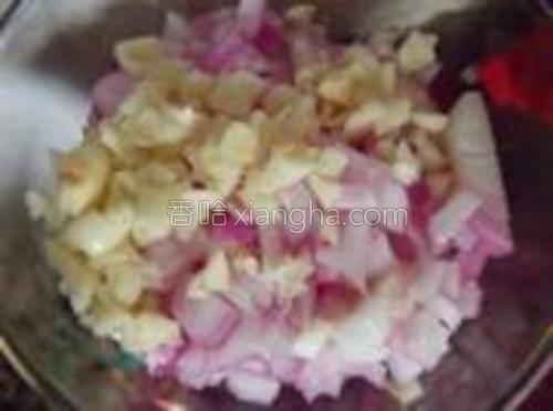 洋葱和蒜子切碎。