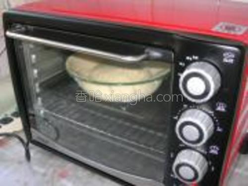 面盆放到烤箱中,发酵档:250℃、80分钟进行发酵。