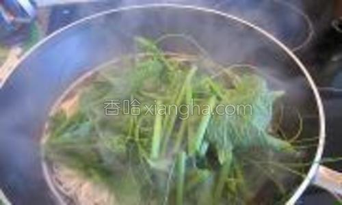 煮至软后放入龙须菜。