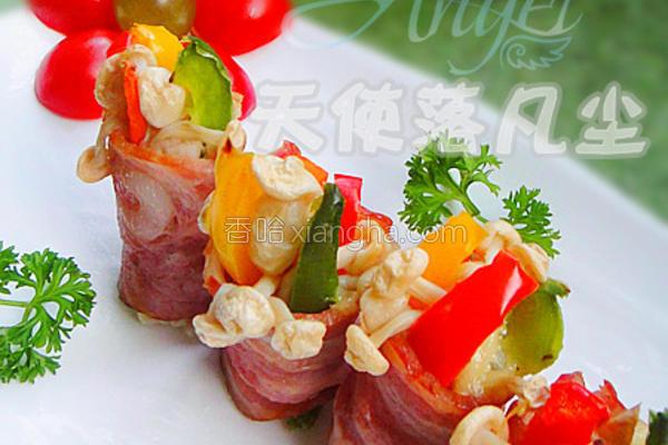 蜜汁培根彩蔬卷的做法